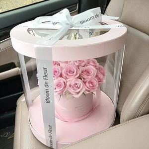 Luxury transparent clear plastic round flower display packaging box