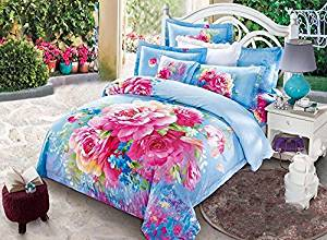 Alicemall Flower Bedding Sets 3D Pink Peonies 100% Cotton 4 Pieces Duvet Cover Sets Floral Quilt Cover Flat Sheet Pillowcases Bedding Set, No Comforter (Queen, Blue-11641660)