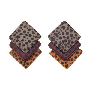 3 Cascading Square Acrylic Earrings Acetate Tortoise Shell Stud Earrings Women Jewelry Acetie Acid