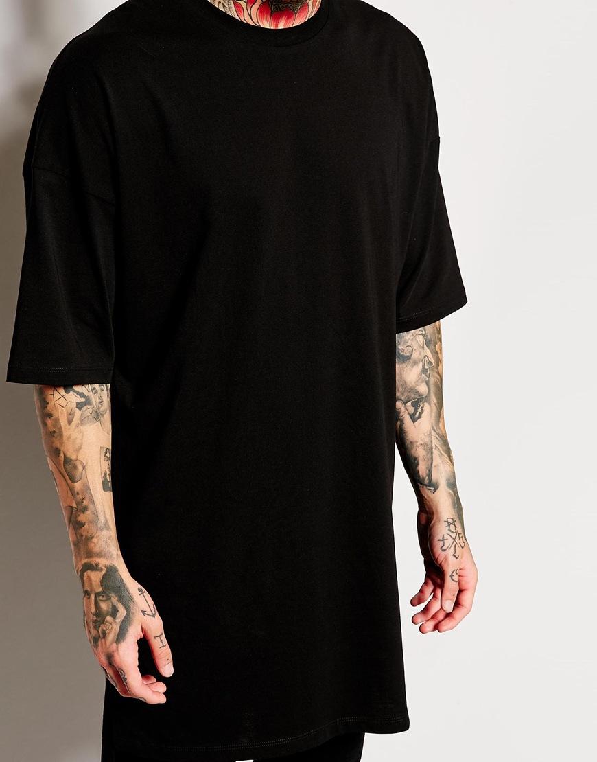 Black t shirts in bulk - Extended Long Hem T Shirt Blank