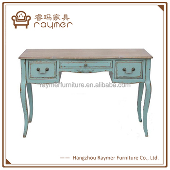 Rustic French Vintage Blue Wood Carved Entryway Console Table Style Product On