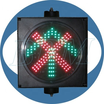 Driveway indicator red cross green arrow traffic signal