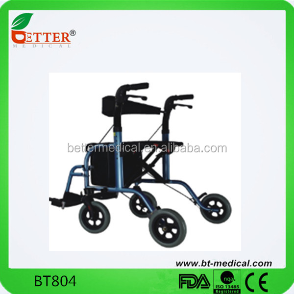 Aluminum Lightweight Transfer Rollator Walker With Seat and Footrest