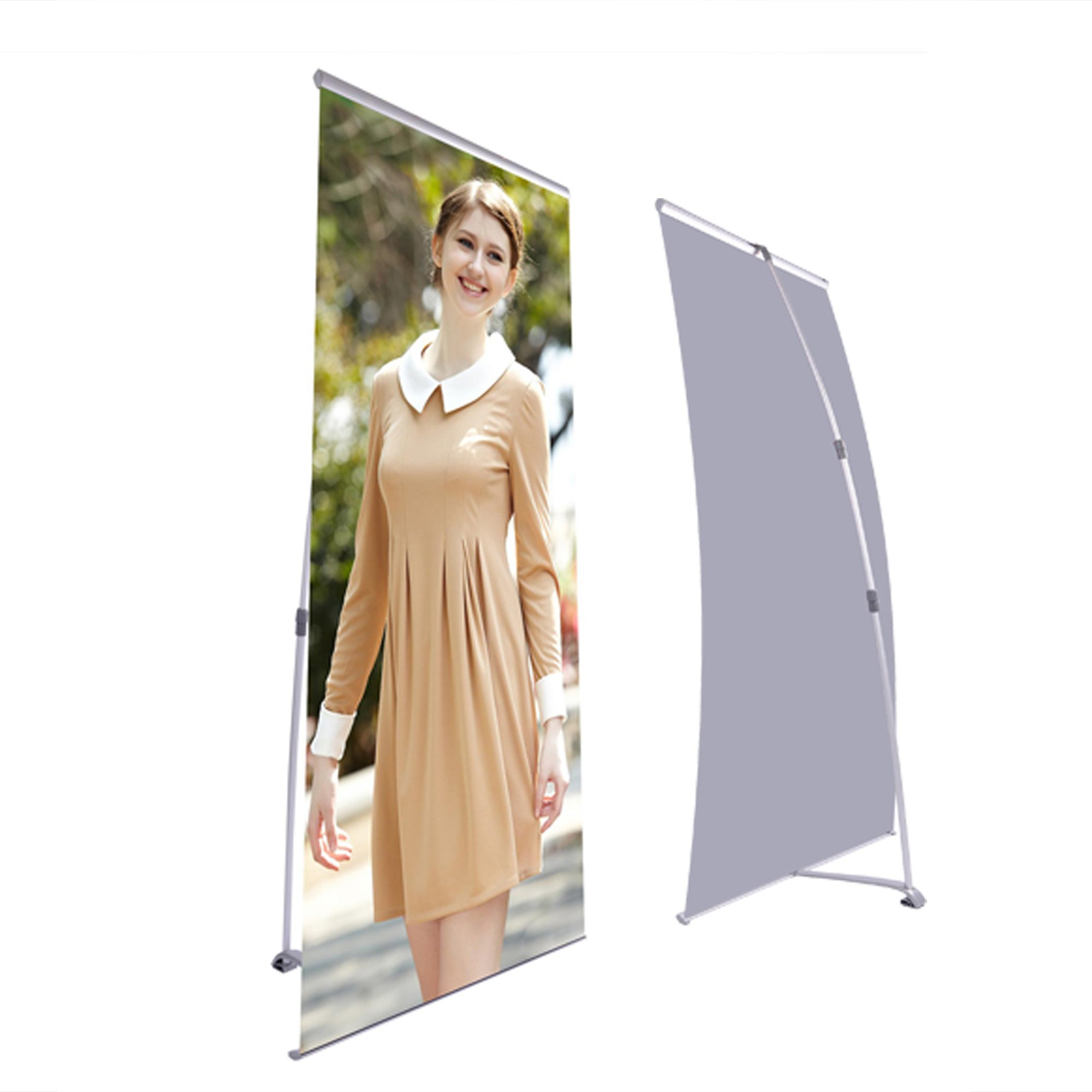 """2pcs 32""""x36"""" to 32""""x83"""" L Type Telescopic Retractable Height Adjustment Banner Stand Sign"""
