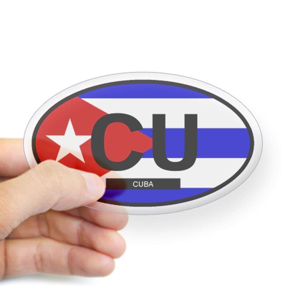 "Cuba Flag Oval car window bumper sticker decal 5/"" x 3/"""
