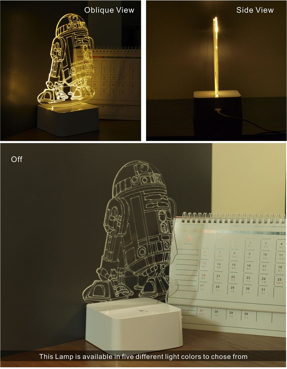 CNHIDEE 3D Visual Led Night Lights for Kids Robort R2 Touch Table Lampara as Besides Lampe for Star war Fans (2)