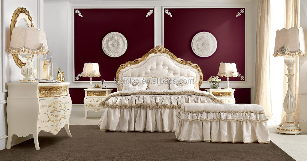 Luxury French Style Bed Royal Solid Wood Bedroom Furniture Set