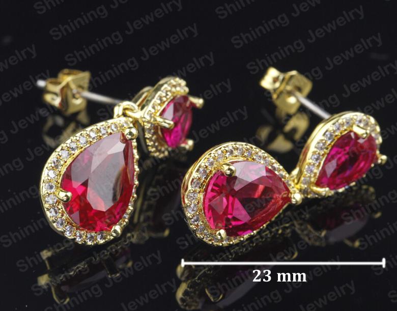 feb02a36d4b fábrica de vender direto Indiano ouro rubi zirconia brincos de prata 925  gota