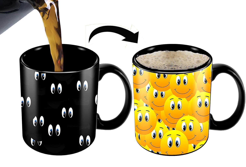 Heat Sensitive Mug | Color Changing Coffee Mug | Funny Coffee Cup | Smiley Face Mug | 11oz Black Mug| Funny Coffee/Tea Cup | 100% Ceramic| Great Gift Idea