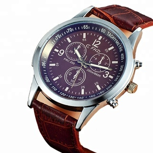 Details quartz leather branded watches for men online shopping