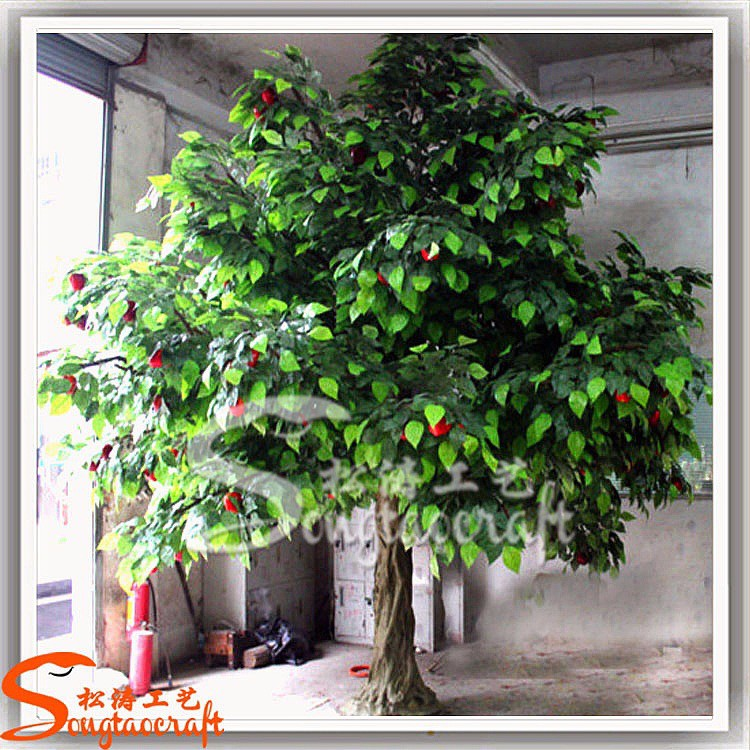 Real Wood Branches Plastic Red Fruit Artificial Green
