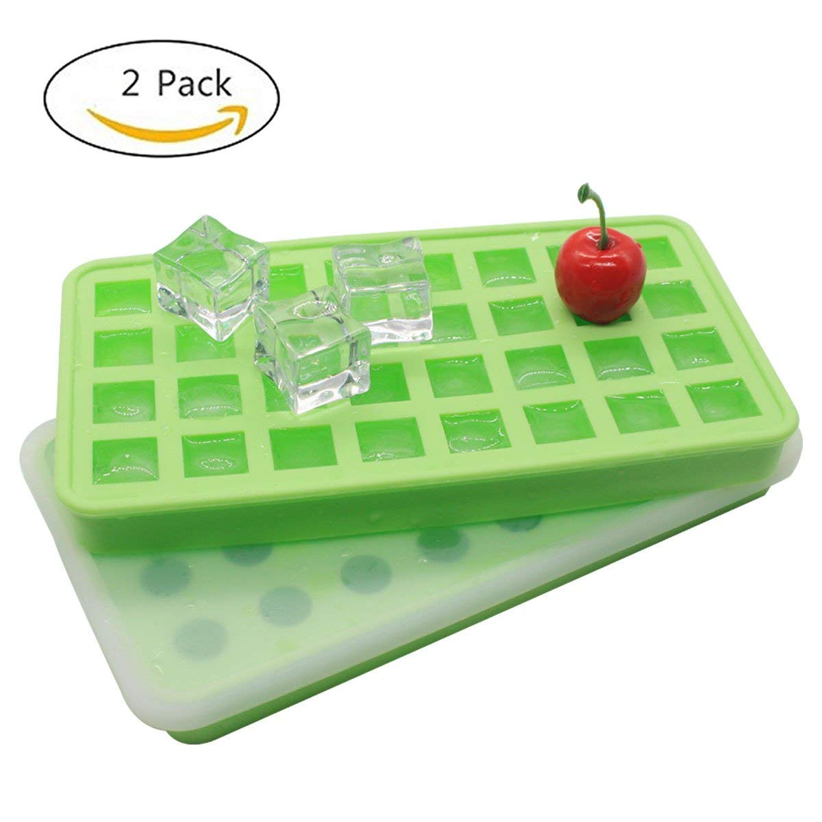 Ice Cube Trays 2 Pack Full Silicone- Easy Release Flexible 32 Ice Trays Spill-Resistant Removable Stack - Small Ice Cube Tray LFGB Certified and BPA Free,Stackable Durable and Dishwasher Safe (Green)