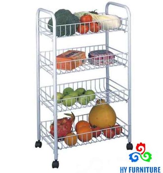 DIY 4 Tier Vegetable Fruit Kitchen Cart Metal Wire Basket Storage Rack  Trolley Cart, View kitchen vegetable cart, HY Product Details from  Zhangzhou ...