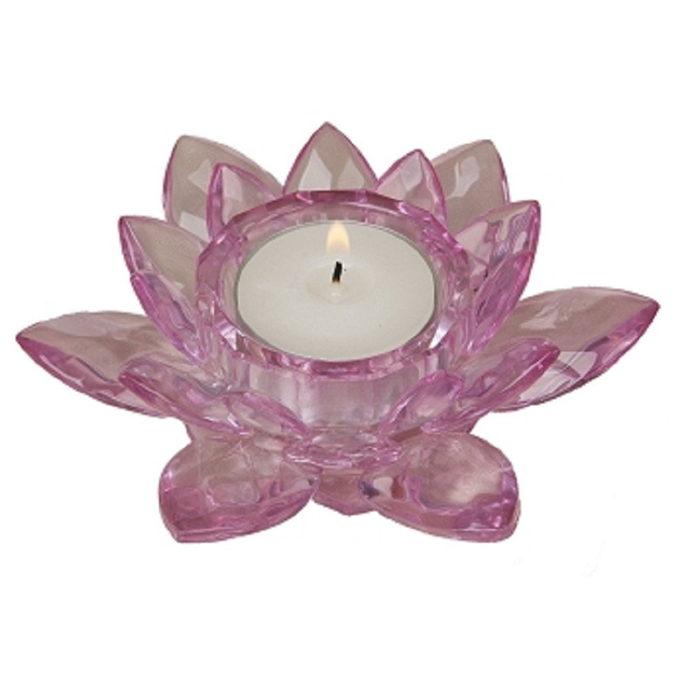 Faceted Crystal Lotus Flower Tea Light Candle Holder, Pink Color