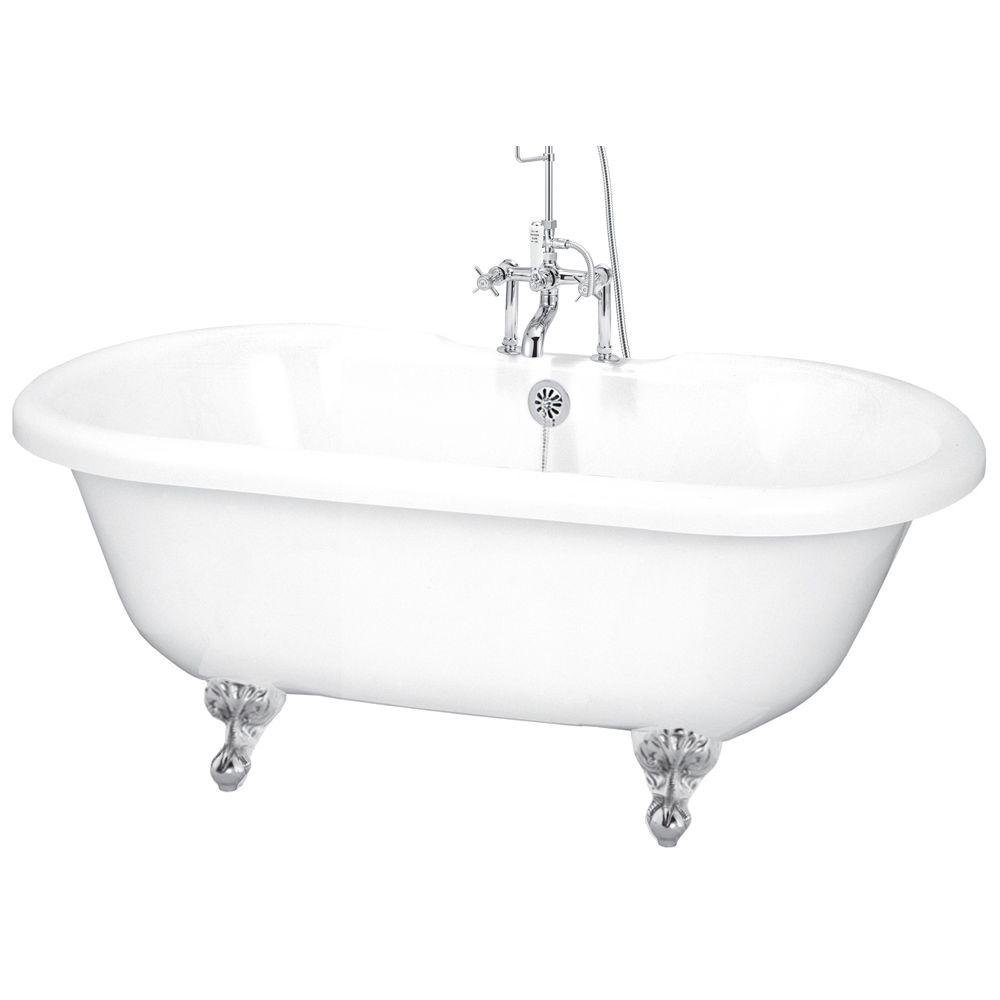 Elizabethan Classics ECUSADF60CP White/Polished Chrome Universal 60in Dual Tub on Ball and Claw Feet