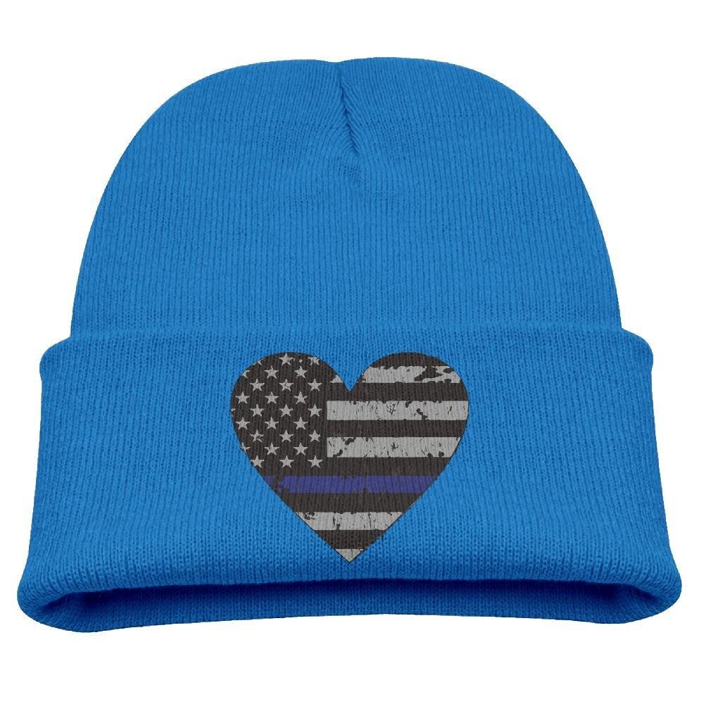 Get Quotations · Idstressed Thin Blue Line Flag Heart Unisex Kids Warm  Winter Hat Knit Beanie Skull Cap Cuff 26b345527e57