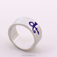New Arrival 2 Colors Prince RIP Ankh Sign Symbol Logo Purple Rain Ring Artist Silver Wedding Band Ring