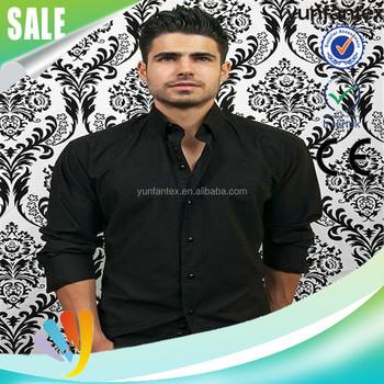 2016 fashion cotton long sleeve cool black formal shirt for man