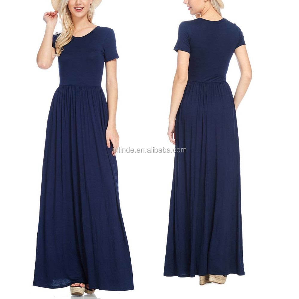 198d04f1bc fat women dresses pictures Soft Stretch Short Sleeve O Neck Navy Maxi Dress  Casual dresses for
