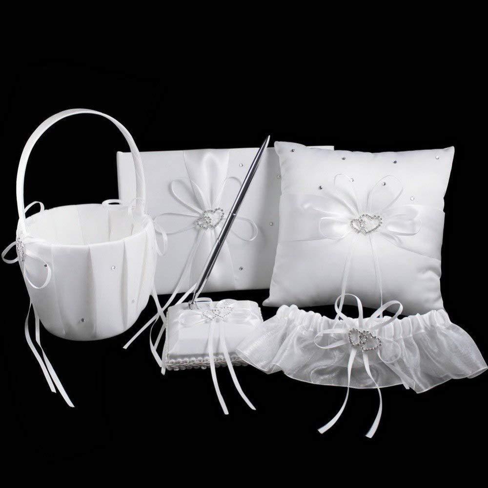 HATABO Decorations Wedding Book Guest Wedding White Satin Double Heart Wedding Ring Pillow Flower Basket Guest Book Pen Set with Rhinestone Decoration (Random)