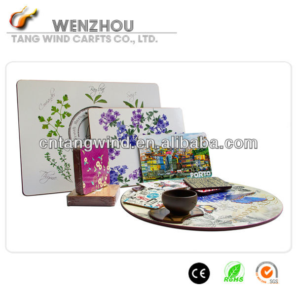 TW283 hot sale heat resist washable Custom Wood Handboard Placemat