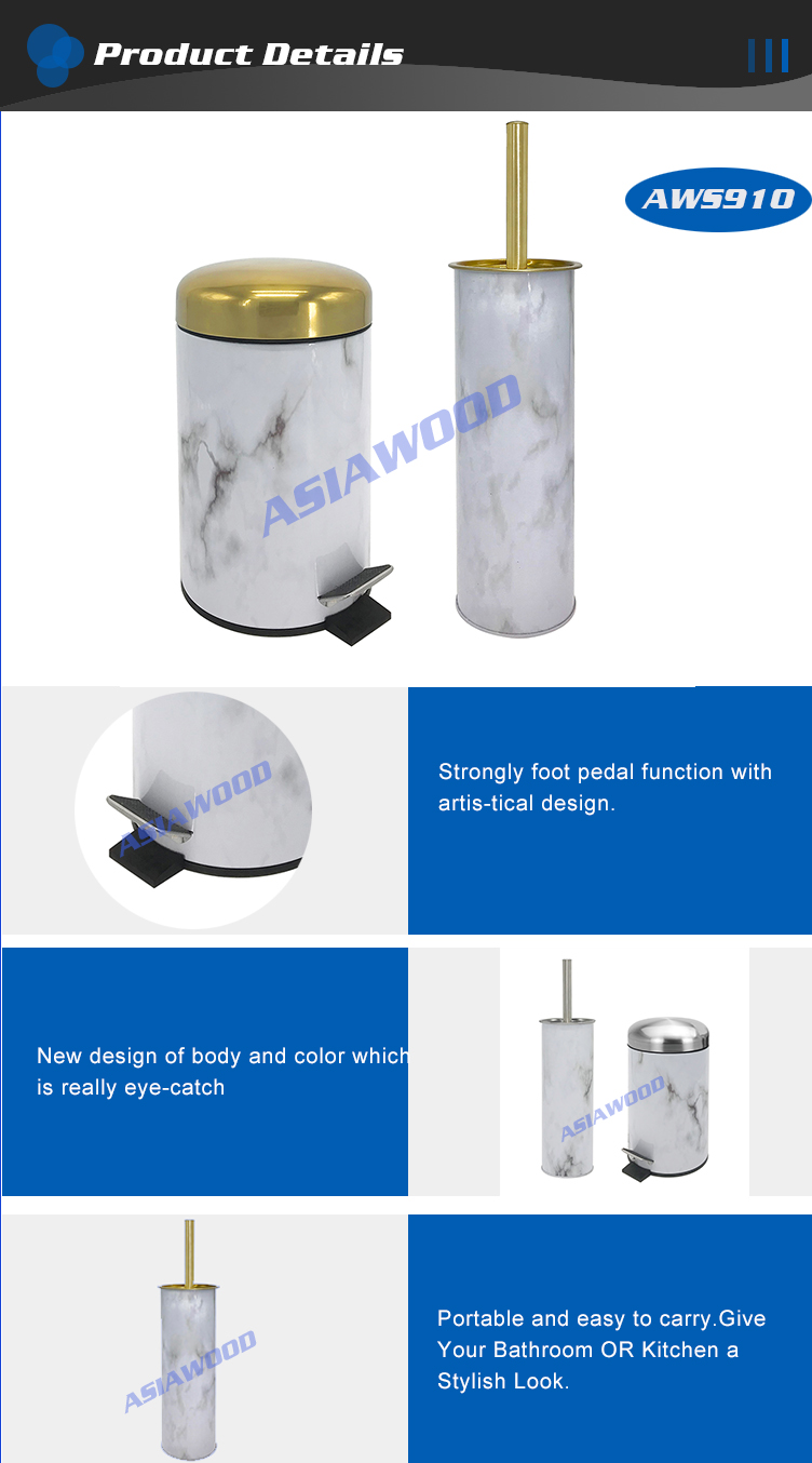 Hotel deluxe bathroom stainless pedal bin soft close(AWS910)