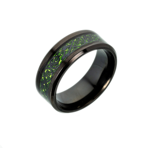 High Polished Custom Logo Engraved Green Red Dragon Pattern Carbon Fibre Rings