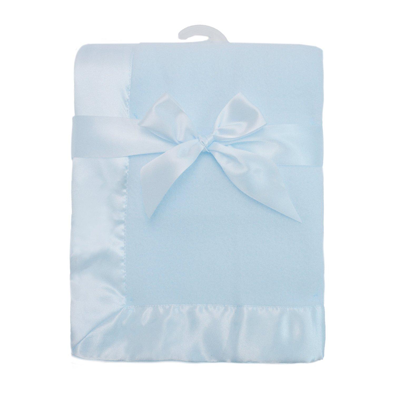 "American Baby Company Fleece Blanket 30"" X 40"" with 2"" Satin Trim, Blue"