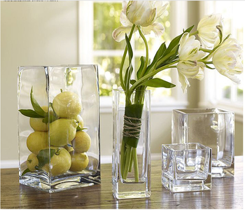 Square Home Decor Table Centerpieces Clear Glass Vase For Flower Arrangements