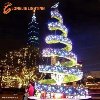 outdoor plaza big artifical christmas tree light giant 3d tree led motif lights holiday decoration