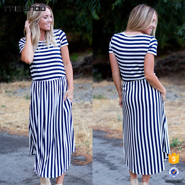 OEM Wholesale Custom Striped Pocket Midi Dress Kleider Wholesale