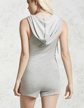 Wholesale hooded fornt zip one piece woman sportswear custom jumpsuit