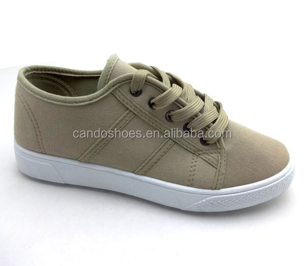 Fashional Model Natural Canvas Vamp Boys Stock Shoes Girls School Shoes