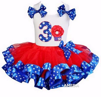 Girls Red Blue Star Satin Trimmed Tutu with 3rd Rosette Cupcake White Tank Top