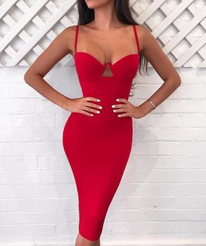 bdb83b2f1665 2018 Designer One Pieces Dress Gown Strap Sexy Red Bandage Bodycon Dress