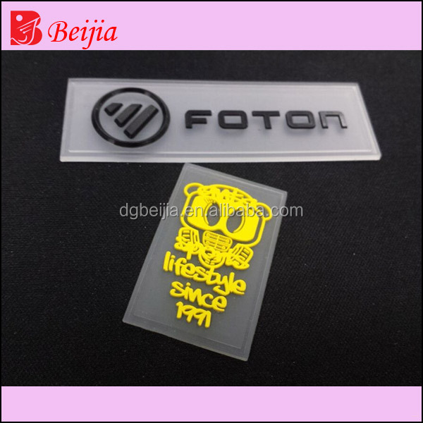 Embossed Logo Rubber Silicone Labels With 3M Back
