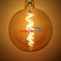 4Watt Sprial led filament light Dimmable Mega Globe Vintage LED Filament G180 LED Bulb with Golden Glass cover E40 E27 base