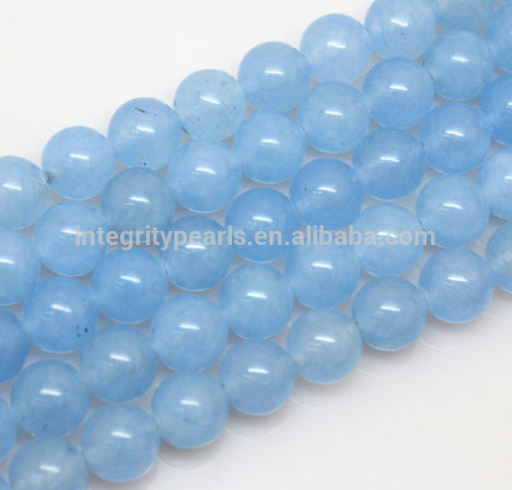 8mm Light Blue Trendy Raw Natural Round Chalcedony Stone