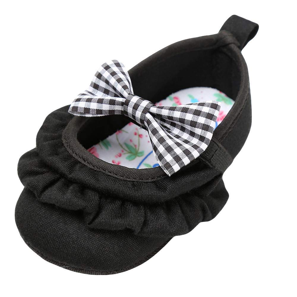 aby Girls Flowers Bow Mary Jane Princess Shoes No-Slip First Walkers Shoes