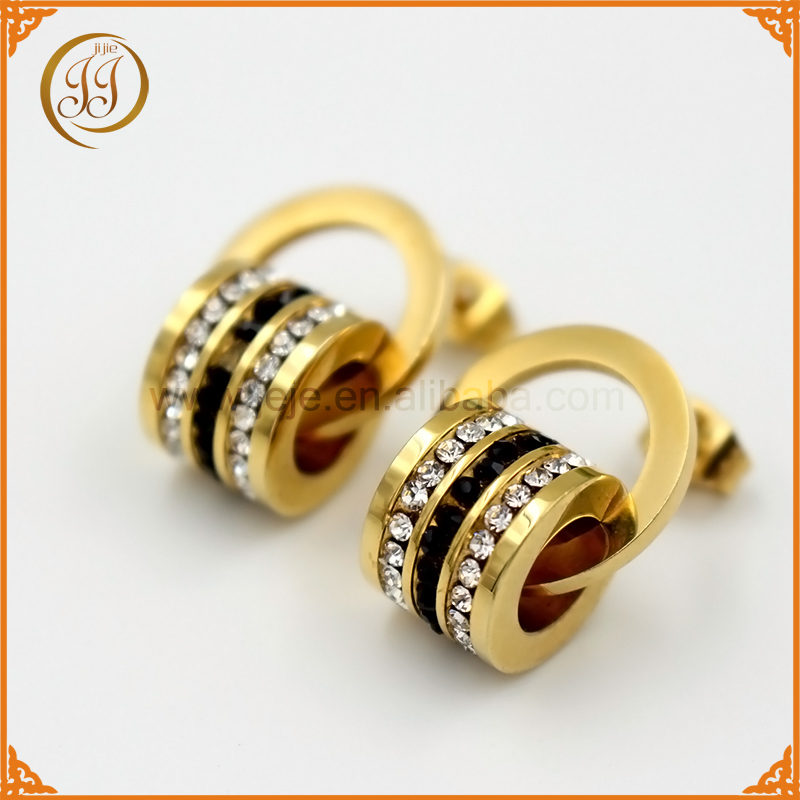 Bulk price bubai jewelry gold ring earrings crystal ear piercing for ladies