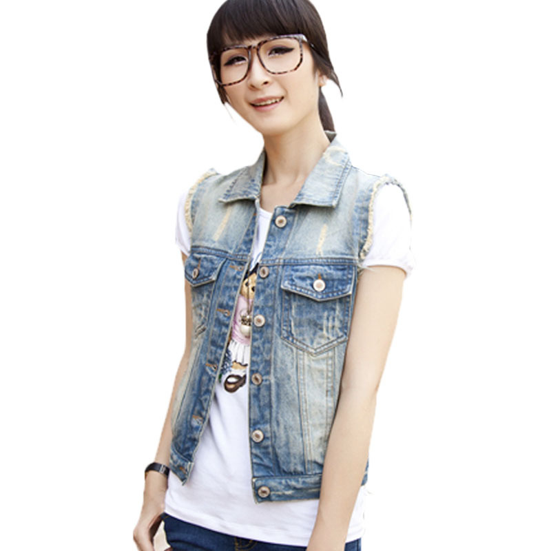 Korean Female Large Size 3XL Sleeveless Denim Vest Outwear Women's Cowboy Clothing colete jeans feminino Jackets gilet femme