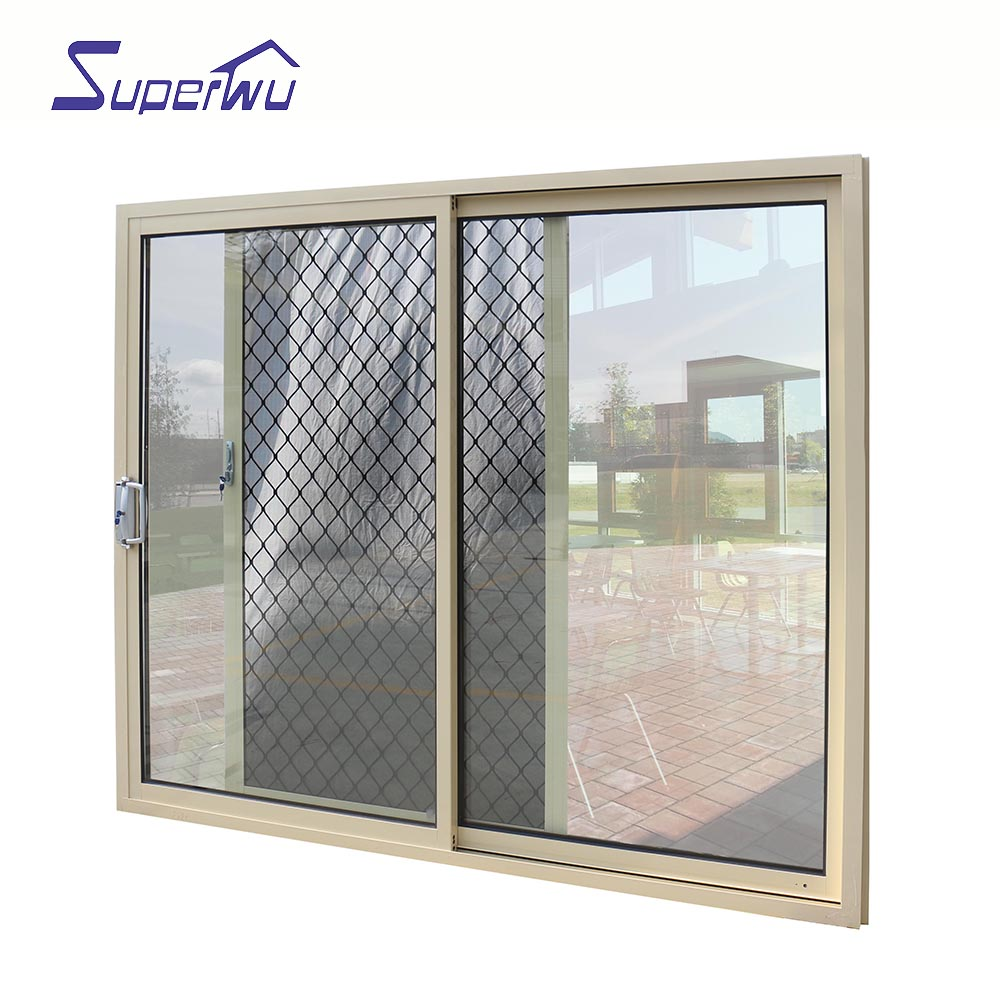 High quality AAMA, CSA,NFRC,DADE Australia Standard China supplier UL glass sliding door with security flyscreen