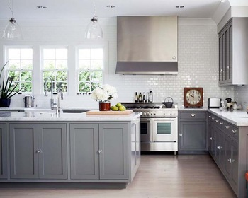 Modular Type Rta Light Grey Shaker Style American Wooden Kitchen - Light grey shaker cabinets
