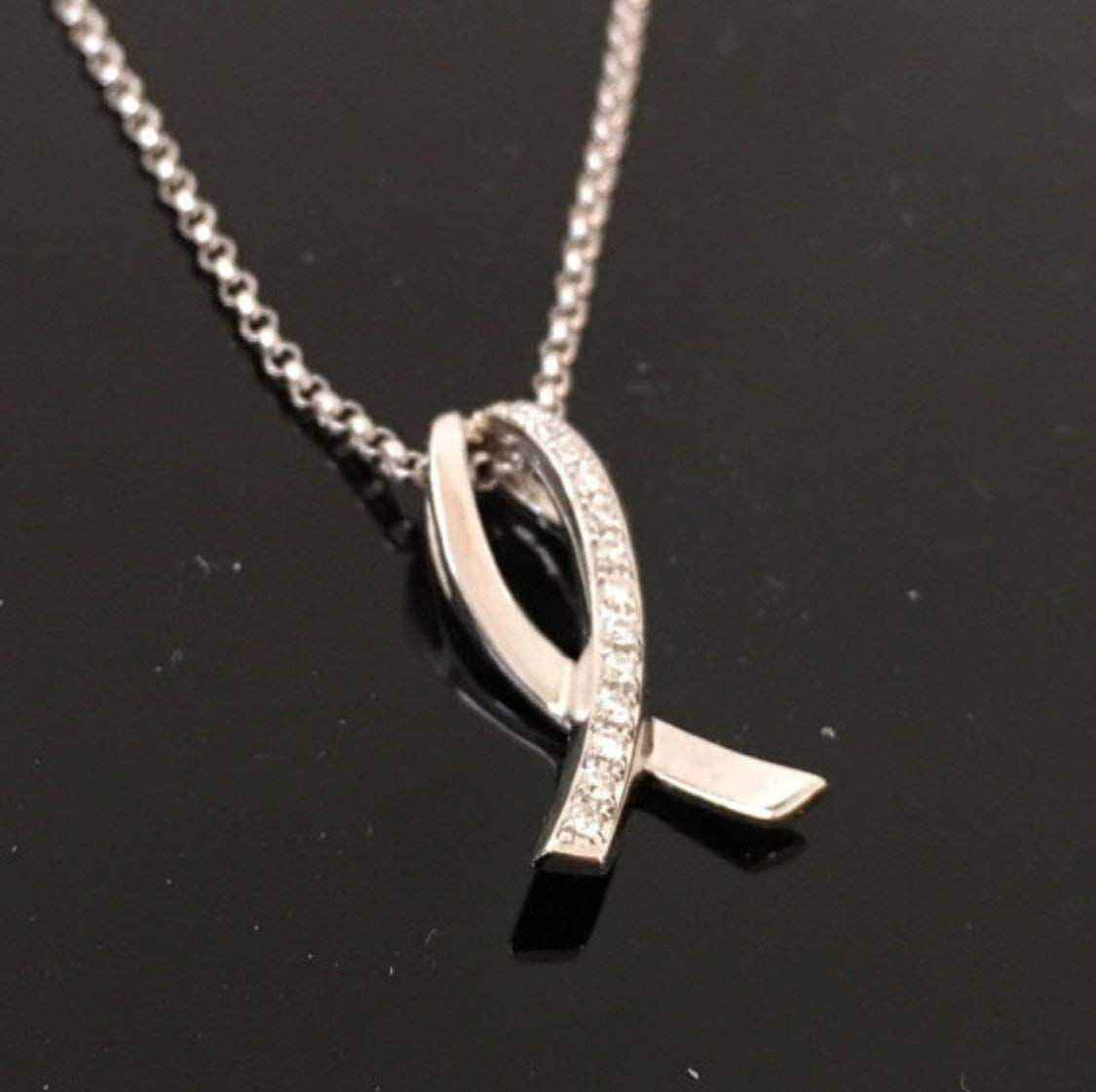 14K White Gold Genuine Diamond Pave Breast Cancer Awareness Ribbon - 14K White Gold 14K Rose Gold 14K Yellow Gold and Diamond Pink Ribbon Pendant with chain - Solid 14K Gold Pink Ribbon Necklace
