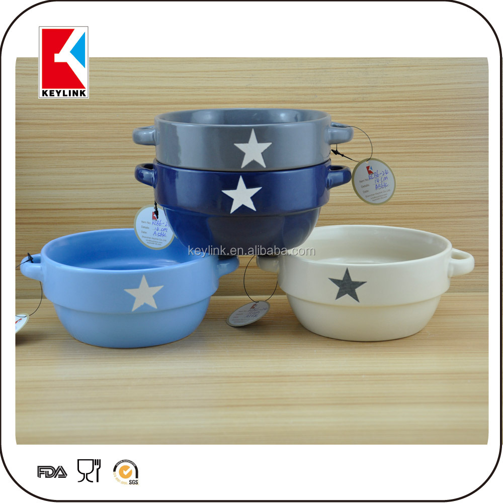 2016 New Logo Printed Ceramic Soup Bowl With Two Handle Ceramic ...