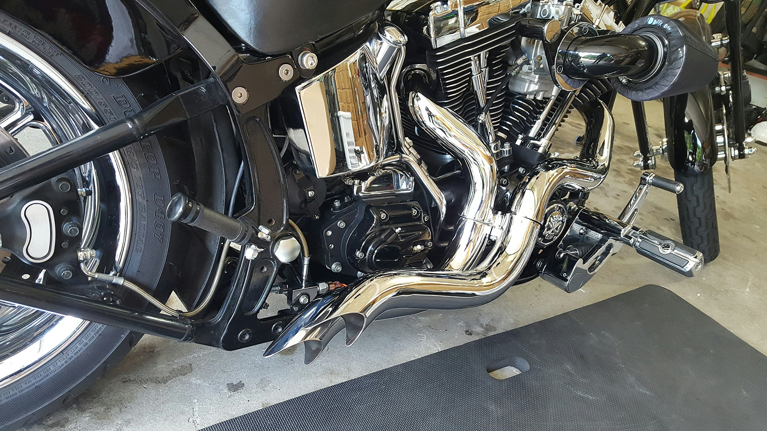"""ACCESSORIESHD CHROME-LAF AMBUSH WITH HEAT SHIELDS Step Tuned 2-1/2"""" Straight Thru Racing Pipes FOR SOFTAILS AND BAGGERS AND CUSTOMS DYNAS REQUIRE SMALL MODIFICATIONS"""