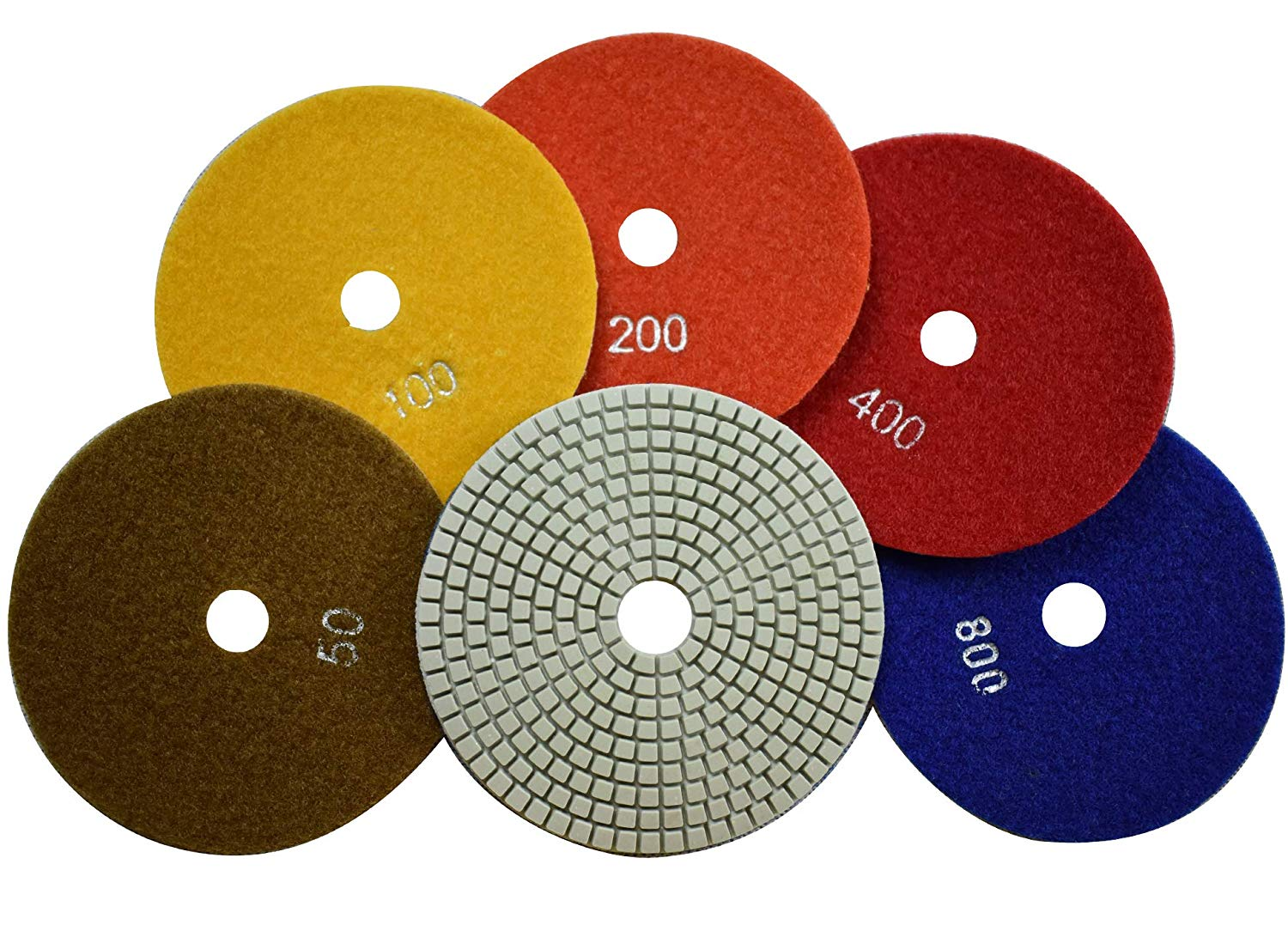 Konfor 5-Step Wet Diamond Polishing Pads 5 Inch Tool for Concrete Marble Granite Quartz Slate Stone Countertop