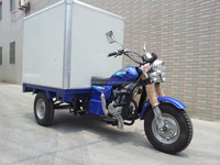 Cheap 3 Wheel Cargo Tricycle With Cloesd Box Motorcycle Gasoline Trike On Sale