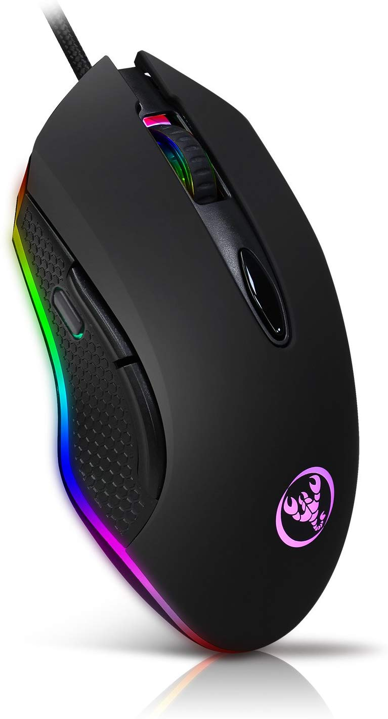 Fellee Professional Gaming mouse wired with 7 Button, 4 Adjustable DPI Levels Ergonomic Optical Mice , 7 Circular & Breathing LED Light