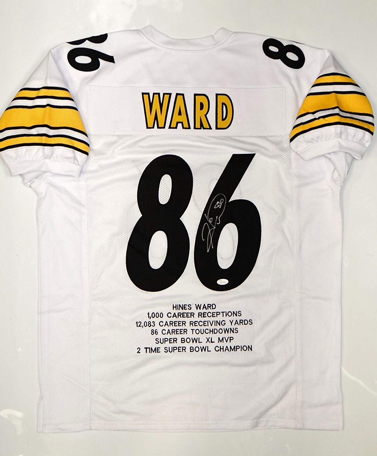 d55588bb0ef Get Quotations · Hines Ward Autographed White Pro Style Jersey w  Stats and JSA  Witnessed Auth